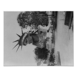 Head of Statue of Liberty in Paris Park Poster
