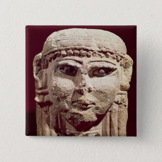 Head of the goddess Ishtar, from Amman, Jordan 15 Cm Square Badge