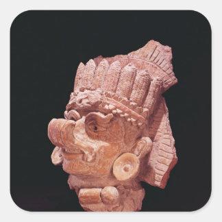 Head of the Mayan corn god, Oaxaca, c.500 AD Square Sticker