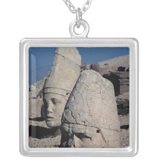 Head of Zeus-Oromandes and a goddess Silver Plated Necklace
