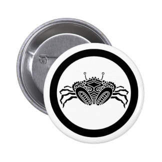 Head-on sea crab in circle 6 cm round badge