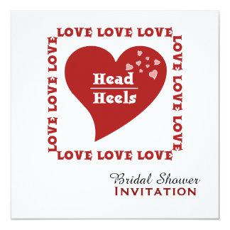 Head over Heels in Love Bridal Shower 13 Cm X 13 Cm Square Invitation Card