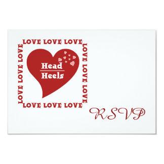 Head over Heels in Love Wedding RSVP Card 9 Cm X 13 Cm Invitation Card