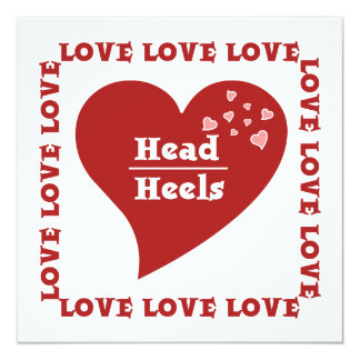 Head Over Heels in Love Wordplay Wedding 13 Cm X 13 Cm Square Invitation Card