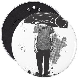 head radio 6 cm round badge