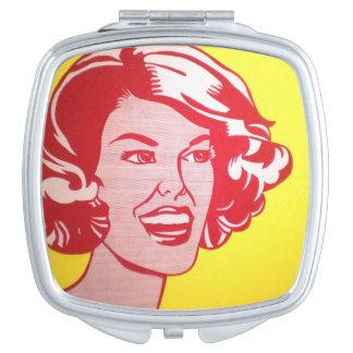 Head Red & Yellow - Lichtenstein - Vintage Pop-Art Travel Mirrors