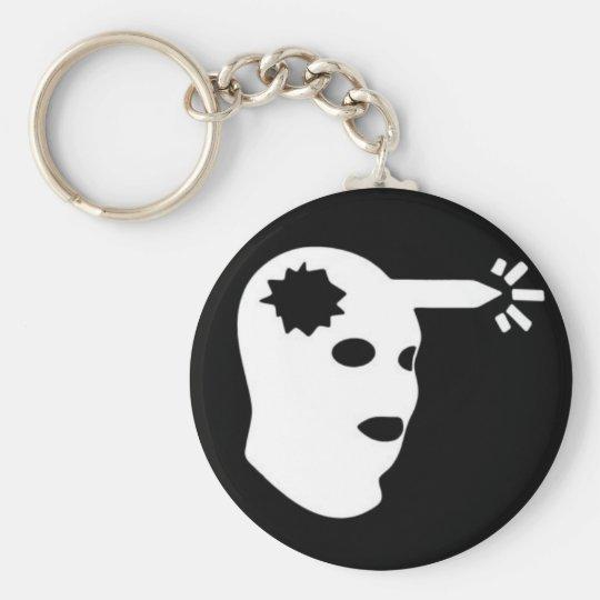 head shot basic round button key ring