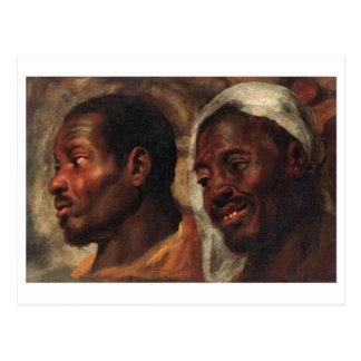 Head Studies of two African men by Jacob Jordaens Postcard