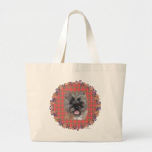 Head Study on Tartan Tote Bag