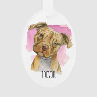 Head Tilt Pit Bull Dog Watercolor Painting