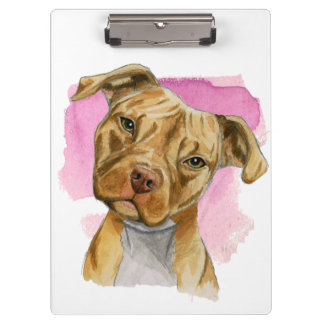 Head Tilt Pit Bull Dog Watercolor Painting Clipboard