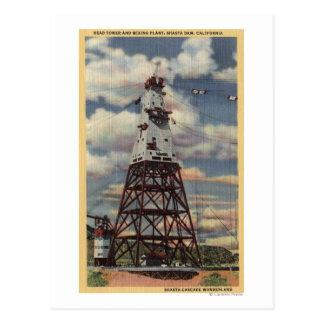 Head Tower, Mixing Plant, Shasta Dam Postcard