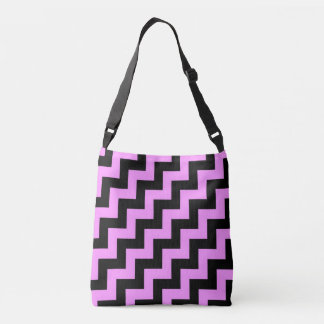 Head-turning Hot Pink and Black Diagonal Zigzags Tote Bag
