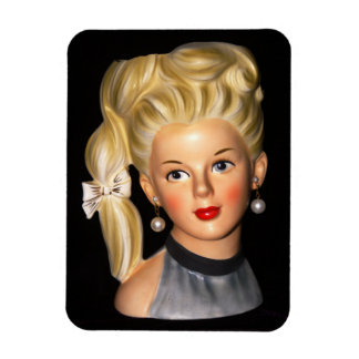 Head Vase 1960s Girl with Bouffant & Side Ponytail Magnet