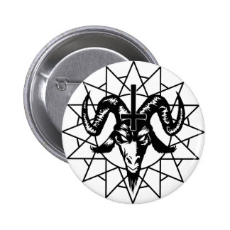 Head with Chaos Star (black) 6 Cm Round Badge