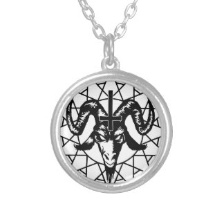 Head with Chaos Star (black) Silver Plated Necklace