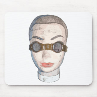 head with goggles mouse mat