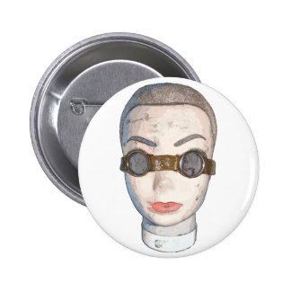 head with goggles pinback button
