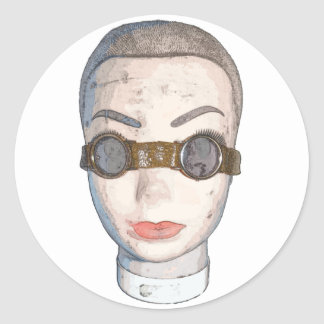 head with goggles round sticker