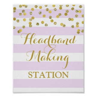 Headband Making Station Sign Purple Stripes Gold Poster