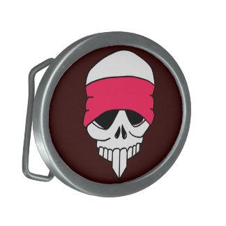 Headbanded Skull Oval Belt Buckle