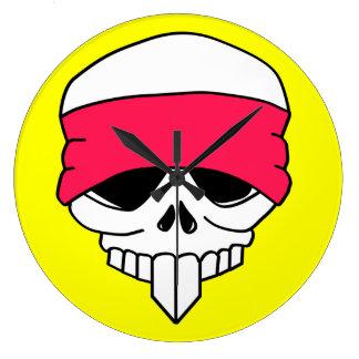 Headbanded Skull Round Clock