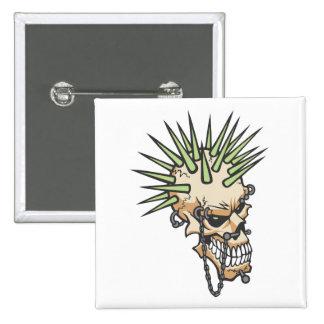 Headbangers Pierced Eyebrow Nose Skull 2 Inch Square Button