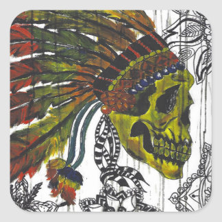 Headdress Skull Square Sticker