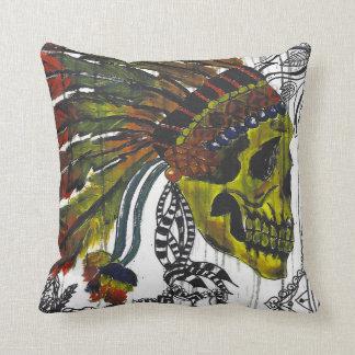 Headdress Skull Throw Pillow