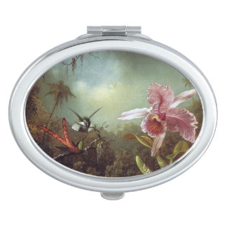Heade Hummingbird Bird Flower Compact Mirror