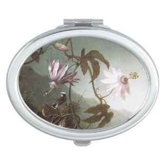 Heade Hummingbird Bird Flowers Compact Mirror