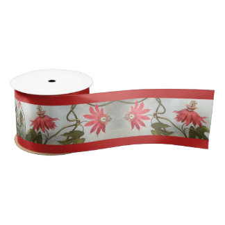 Heade Hummingbird Birds Passion Flowers Ribbon Satin Ribbon