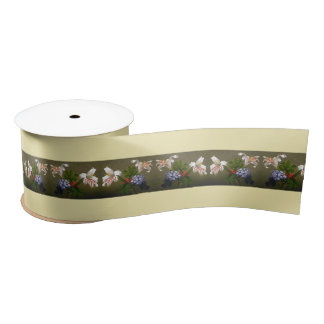 Heade Lilies Heliotrope Flowers Floral Trim Ribbon Satin Ribbon