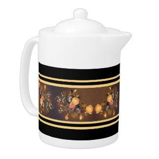Heade Roses Flowers Stripes Teapot