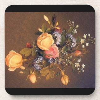Heade Roses Heliotrope Flowers Bouquet Coaster