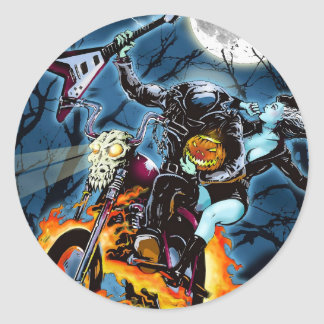 Headless Biker Horseman Round Sticker