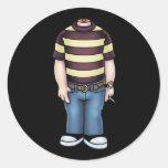 headless-boy-T Round Sticker