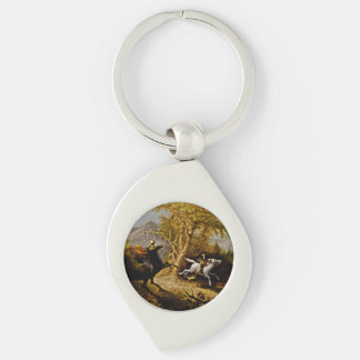 Headless Horseman Chasing Ichabod Crane Silver-Colored Swirl Key Ring