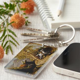 Headless Horseman Chasing Ichabod Crane Single-Sided Rectangular Acrylic Key Ring