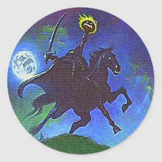 Headless Horseman in the Blue Light Round Sticker