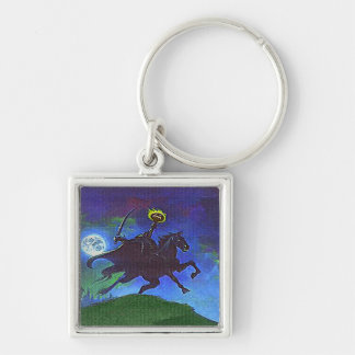 Headless Horseman in the Blue Light Silver-Colored Square Key Ring