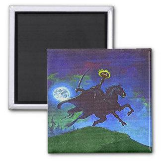 Headless Horseman in the Blue Light Square Magnet