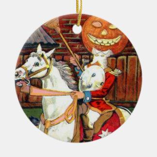 Headless Horseman Jack O Lantern Black Cat Round Ceramic Decoration