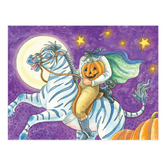 Headless Horseman on Zebra Postcard