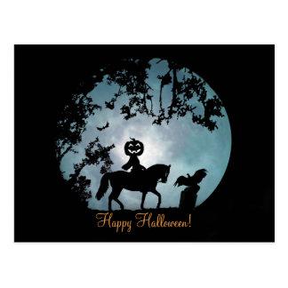 Headless Horseman Pumpkin Head Halloween Postcard