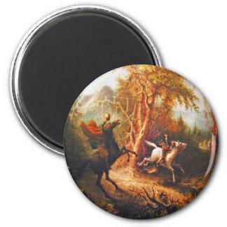 Headless Horseman Pursuing Ichabod Crane 6 Cm Round Magnet