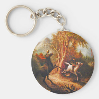 Headless Horseman Pursuing Ichabod Crane Basic Round Button Key Ring