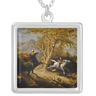 Headless Horseman Pursuing Ichabod Crane Silver Plated Necklace