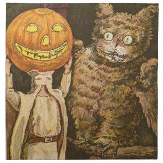 Headless Man Jack O' Lantern Owl Pumpkinhead Cloth Napkin