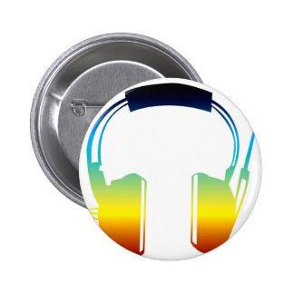 headphone 6 cm round badge